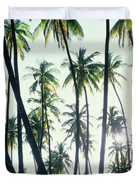 Low Angle View Of Coconut Palm Trees Duvet Cover