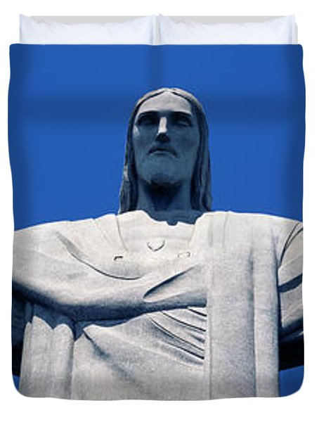 Low Angle View Of The Christ Duvet Cover