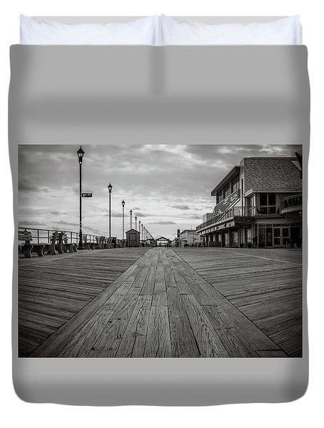 Duvet Cover featuring the photograph Low On The Boardwalk by Steve Stanger