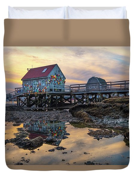 Low Tide Reflections, Badgers Island.  Duvet Cover