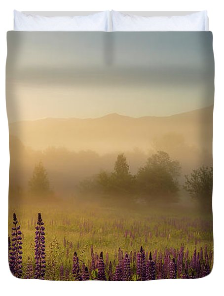 Lupine In The Fog, Sugar Hill, Nh Duvet Cover