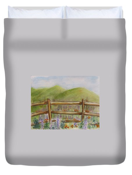 Lupines With A Side Of Poppies Duvet Cover