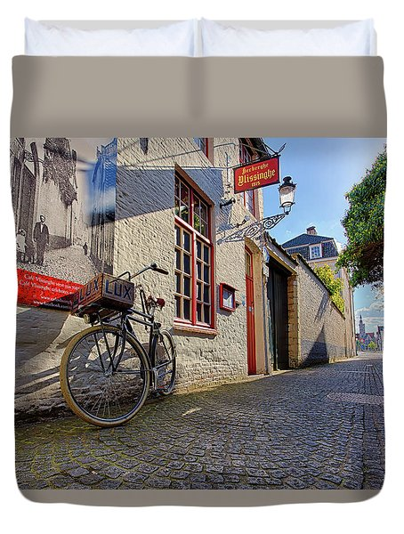 Duvet Cover featuring the photograph Lux Cobblestone Road Brugge Belgium by Nathan Bush