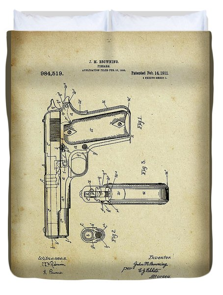 M1911 Browning Pistol Patent Duvet Cover