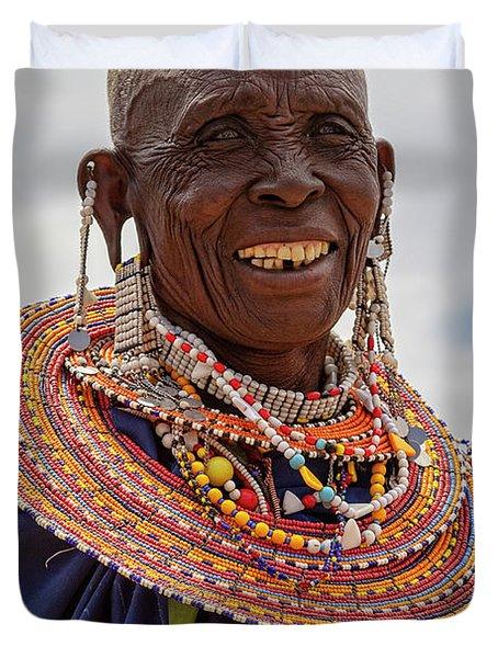 Maasai Woman In Tanzania Duvet Cover