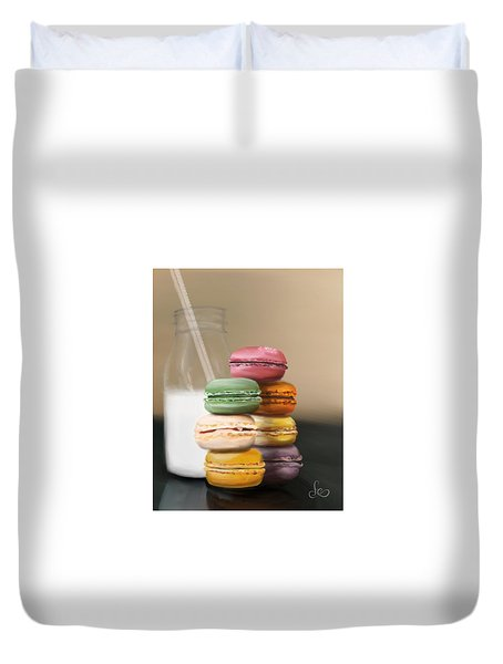 Duvet Cover featuring the pastel Macaroons  by Fe Jones