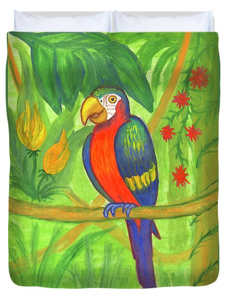 Macaw Parrot In The Wild Duvet Cover