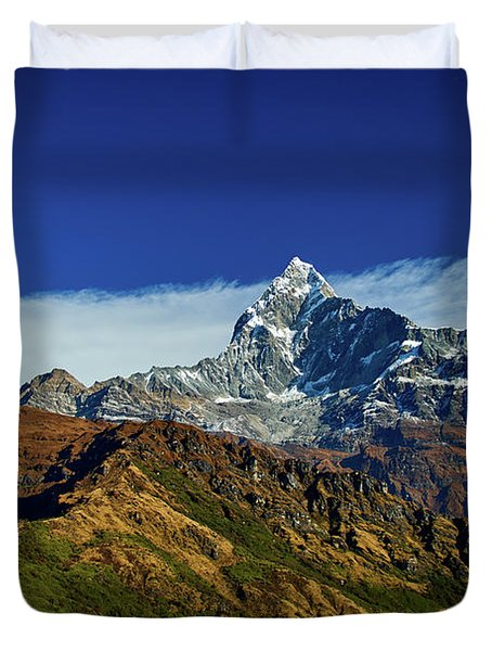 Machapuchare Mountain Fishtail In Himalayas Range Nepal Duvet Cover