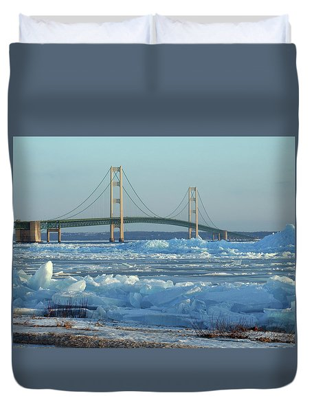Mackinac Bridge In Ice 2161801 Duvet Cover