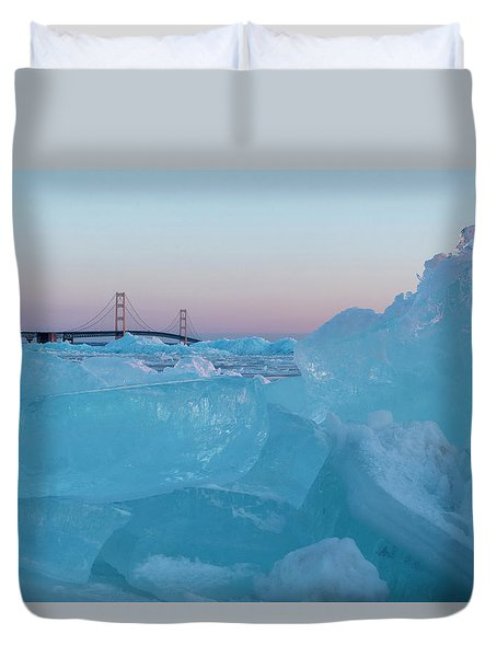 Mackinac Bridge In Ice 2161805 Duvet Cover
