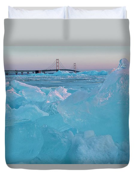 Mackinac Bridge In Ice 2161806 Duvet Cover