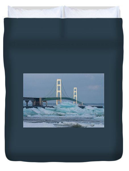 Mackinac Bridge In Ice 2161809 Duvet Cover