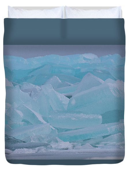 Mackinaw City Ice Formations 21618010 Duvet Cover