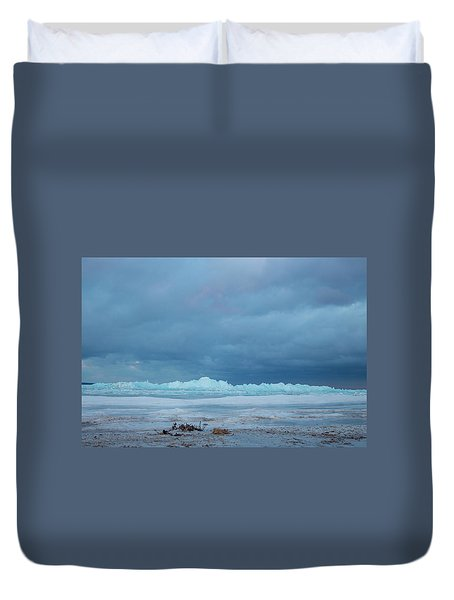 Mackinaw City Ice Formations 21618011 Duvet Cover