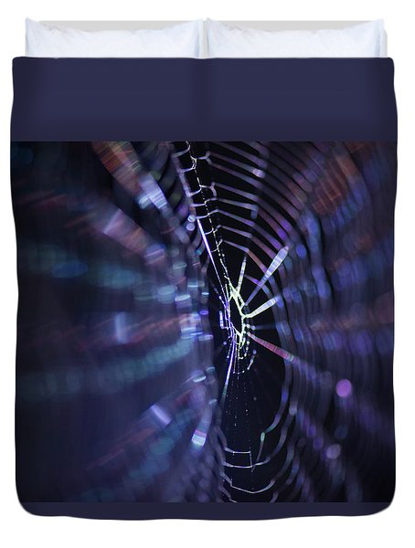 Macro Of A Spiders Web Captured At Night. Duvet Cover