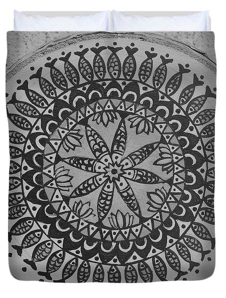 Madhubani Fish Mandala Duvet Cover