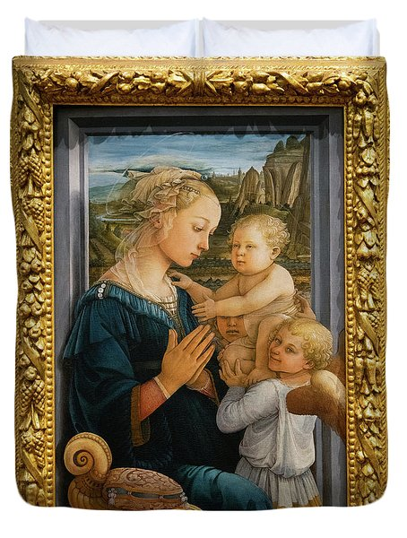 Madonna And Child Lippi The Uffizi Gallery Florence Italy Duvet Cover