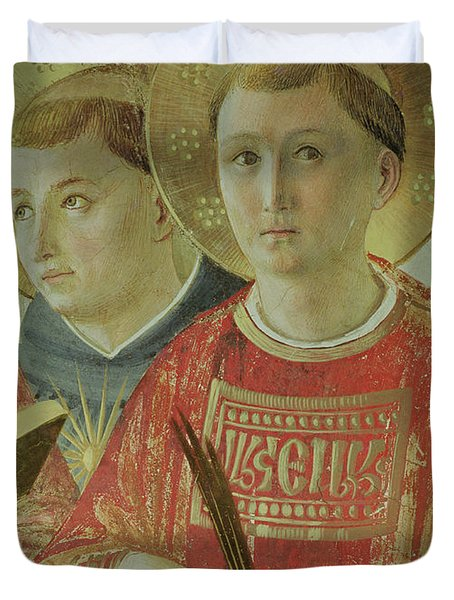 Madonna Of The Shadow, Detail Of St Thomas Aquinas And St Lawrence Duvet Cover