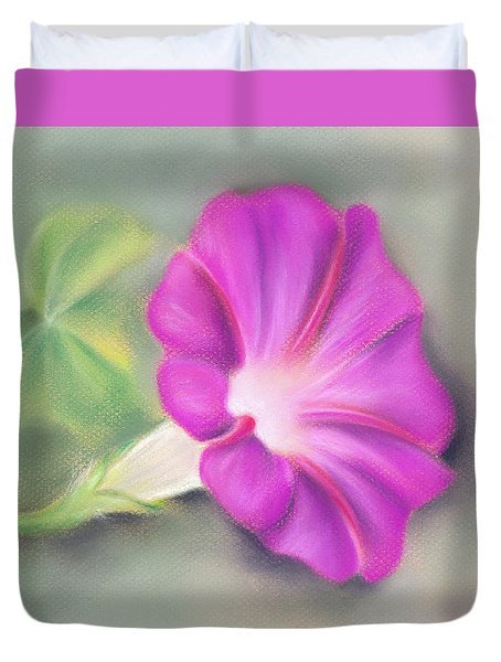 Magenta Morning Glory And Leaf Duvet Cover