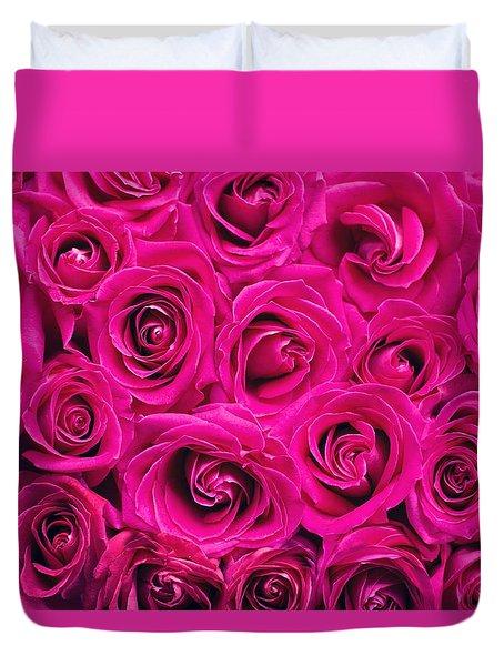 Magenta Roses Duvet Cover