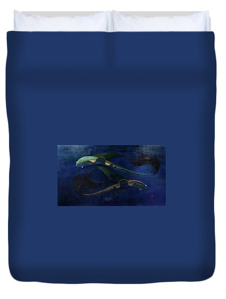 Duvet Cover featuring the painting Magic Fish by James Lanigan Thompson MFA