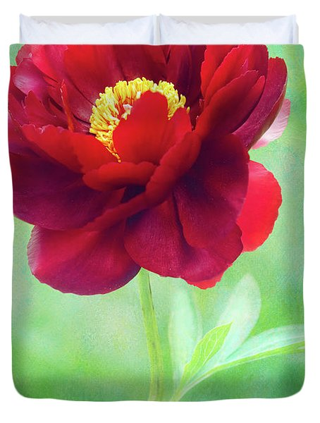Magnificent Crimson Peony Duvet Cover