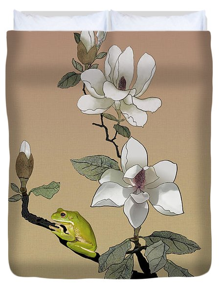 Magnolia And Tree Frog Duvet Cover