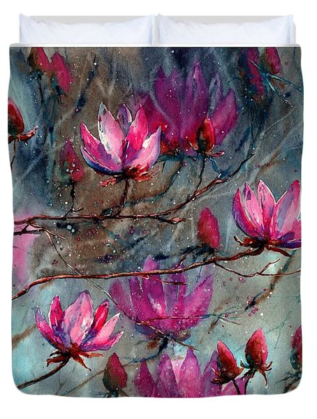 Magnolia At Midnight Duvet Cover