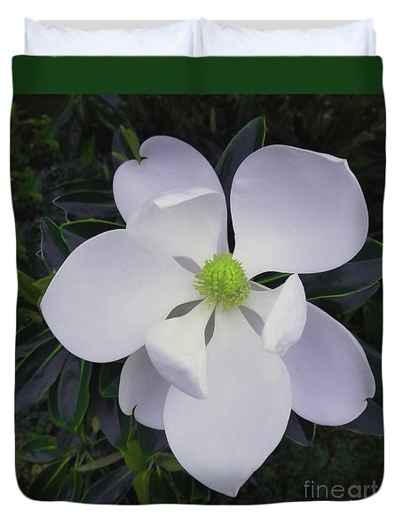 Duvet Cover featuring the painting Magnolia Flower Photo F9718 by Mas Art Studio