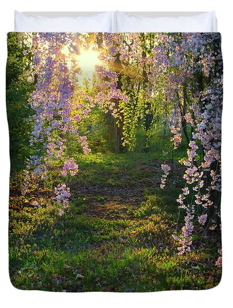 Magnolia Tree Sunset Duvet Cover