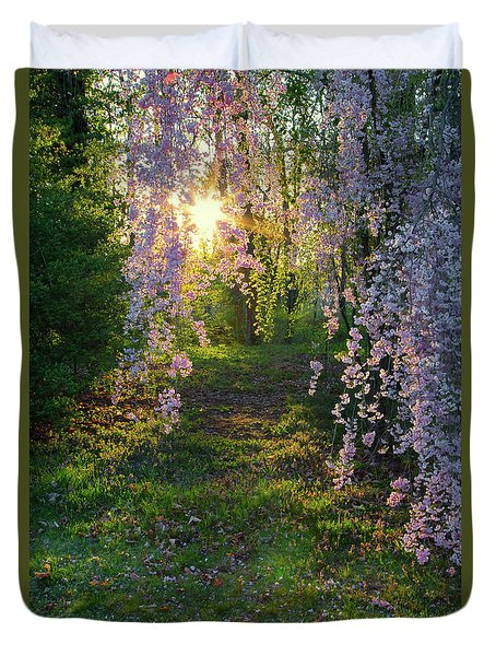 Duvet Cover featuring the photograph Magnolia Tree Sunset by Nathan Bush