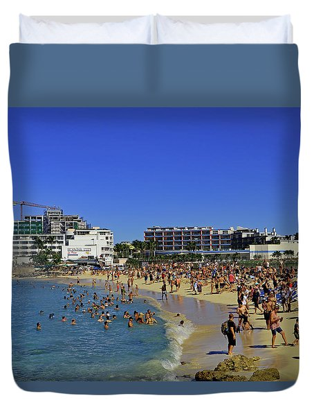 Duvet Cover featuring the photograph Maho Beach by Tony Murtagh