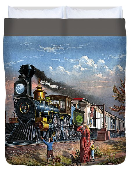 Mail Train Locomotive 19th Century, Mother With Children And Doggie Duvet Cover