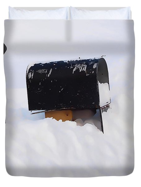 Mailboxes Covered In Snow 3 Duvet Cover