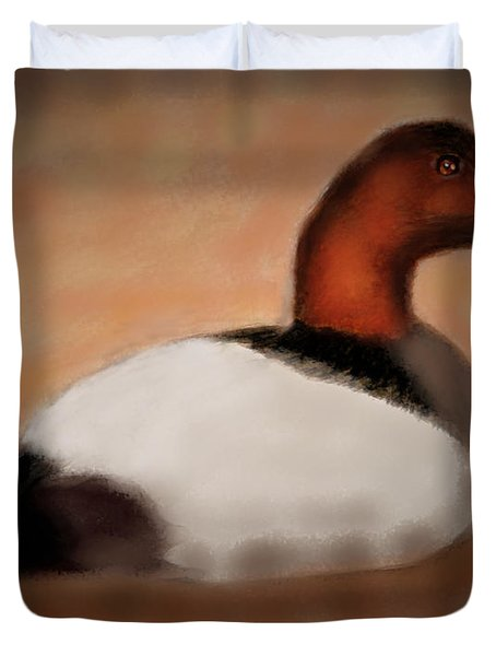 Male Canvasback At Dawn Duvet Cover