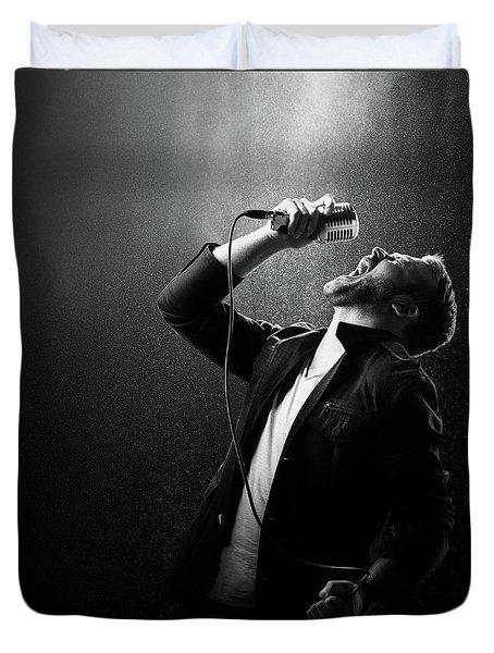 Male Singer Performing Duvet Cover