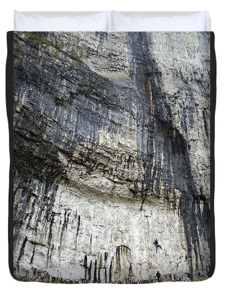 Malham Cove Climbers Duvet Cover