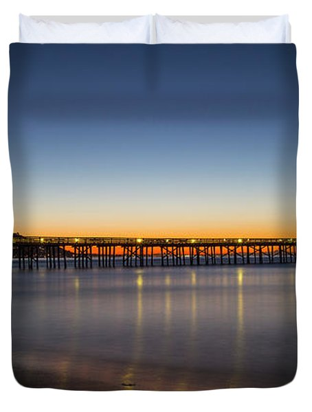 Malibu Pier At Sunrise Duvet Cover
