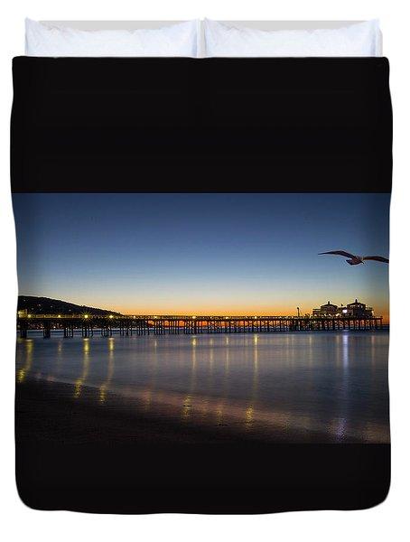 Malibu Pier At Sunrise Duvet Cover