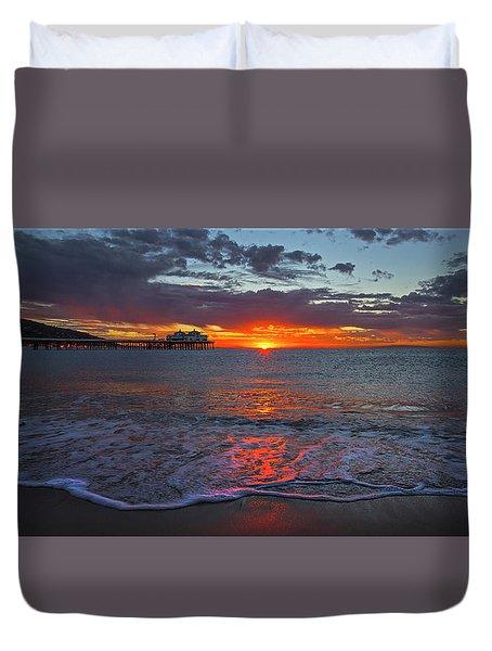Malibu Pier Sunrise Duvet Cover
