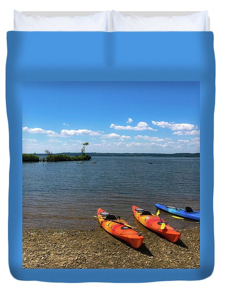Duvet Cover featuring the photograph Mallows Bay And Kayaks by Lora J Wilson