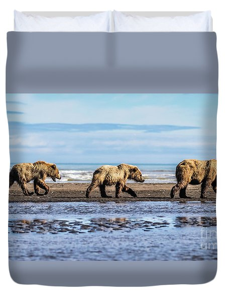 Mama Bear And Her Two Cubs On The Beach. Duvet Cover