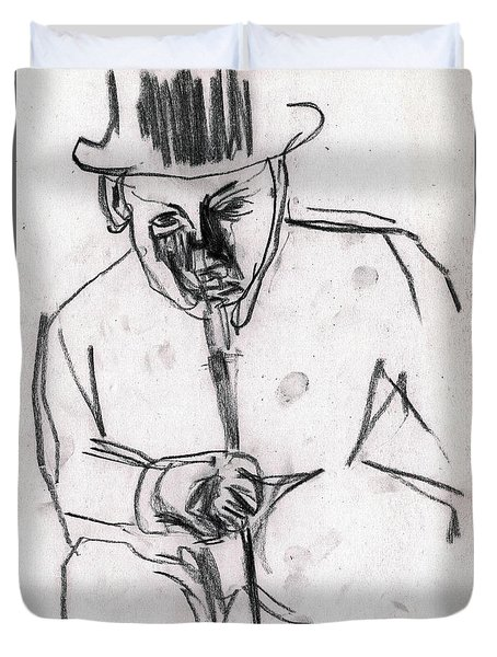 Man In Top Hat And Cane Duvet Cover