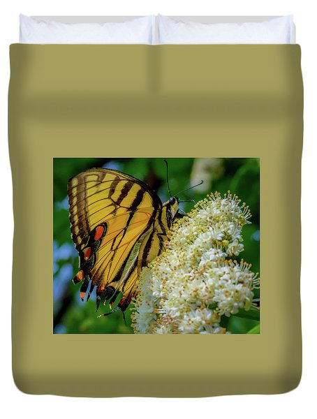 Duvet Cover featuring the photograph Manassas Butterfly by Lora J Wilson