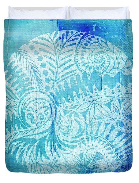 Mandala In Blue And White Duvet Cover