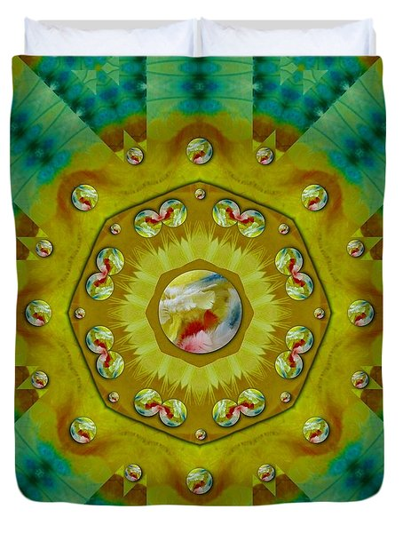 Mandala In Peace And Feathers Duvet Cover