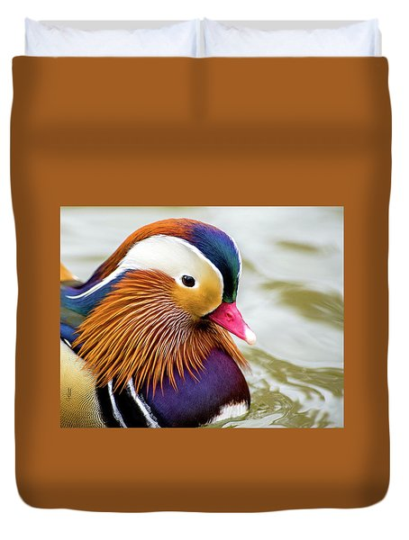 Mandarin Duck Portrait Duvet Cover