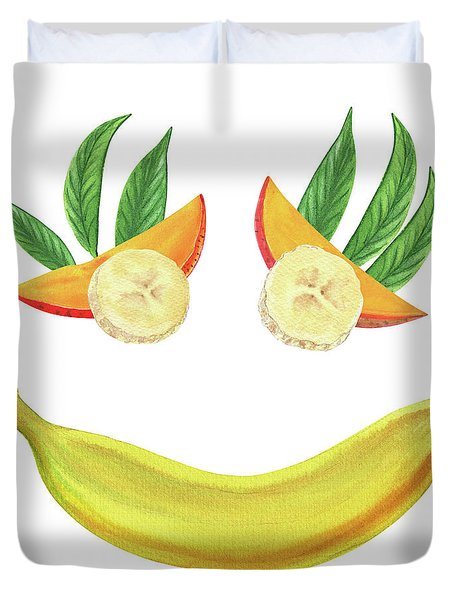 Mango Banana Smile Watercolor Food Illustration  Duvet Cover