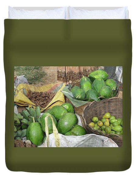 Mangos, Turmeric And Green Bananas  Duvet Cover