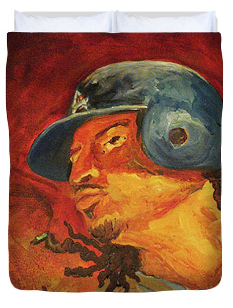 Duvet Cover featuring the painting Manny Ramirez by Donna Hall